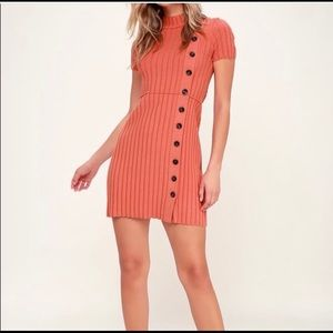 Free people sweater coral dress NWOT